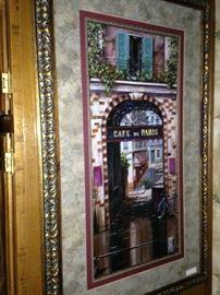 """Framed art of """"Cafe de Paris"""""""
