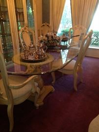 Large formal glass top/2 pedestal dining table with 8 chairs
