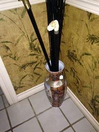 Asian style vase; canes