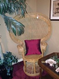"""One of two matching vintage wicker """"fan"""" chairs; 2 tier side table"""