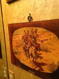 """Native American art """"Return of the Warriors"""" by C. M. Russel; he  created more than 2,000 paintings of cowboys, Indians, and landscapes set in the Western United States."""