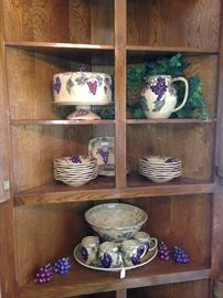 Grape cake plate, pitcher, bowls, and punch bowl with mugs
