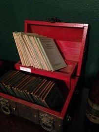 Small books; wooden box
