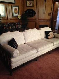 Long white 3-cushion sofa