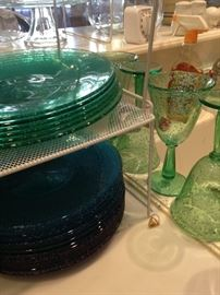 Colored plates and glasses