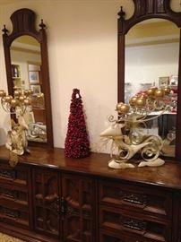 Large dresser & mirrors; matching deer