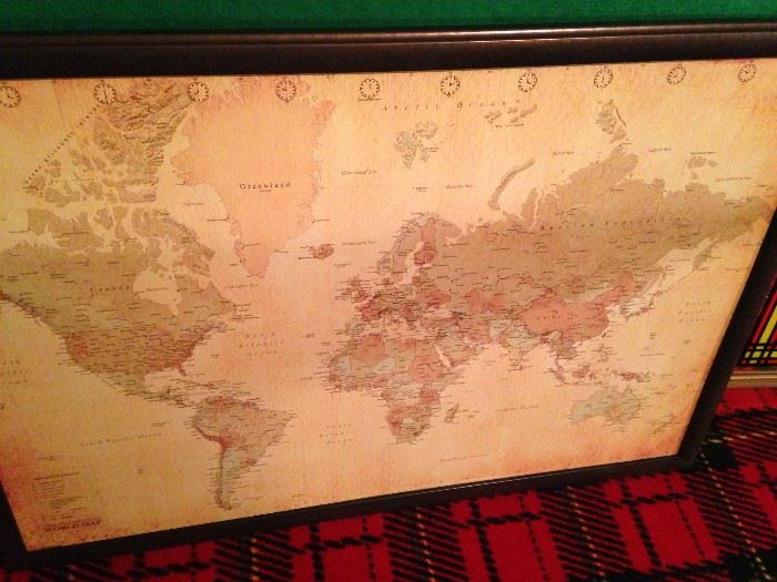 Framed world map