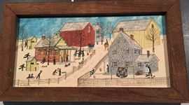 Original Oil Wood Framed Painting  Folk Art by Delores Hackenberger Signed.