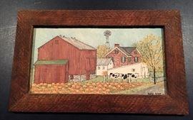 Original Oil Painting  by  Folk Artist Arlene Fisher    Signed