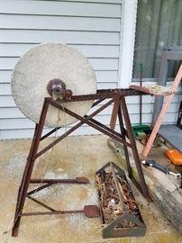 Foot  operated grinding wheel