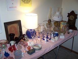 OIL LAMPS, SHELF CLOCK & SMALLS