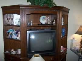 THREE-SECTION BOOKCASE-TV UNIT, TV & MISC.