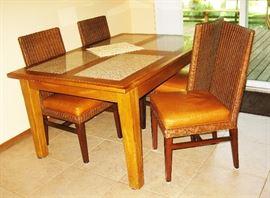 Ethan Allen rattan chairs  4,  BUY IT NOW  $ 200.00                   tile top table  BUY IT NOW  $ 175.00