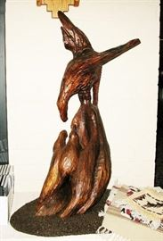 """Hand carved 30"""" tall bird carving                                             BUY IT NOW  $ 200.00"""