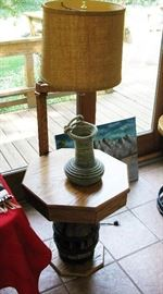 Hand crafted oak table lamp  BUY IT NOW  $ 110.00