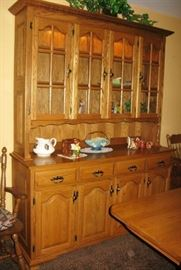 """Amish made oak hutch china cabinet                                    BUY IT NOW  $ 435.00                                                                     measures 64"""" w x 20"""" d x 83"""" h."""