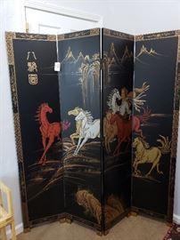 Horse scene folding divider screen