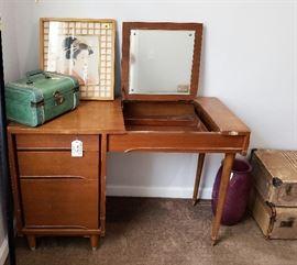 Mid-Century vanity, vintage suitcases, Geisha girl framed print