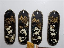 Lacquered horse scene panels