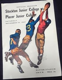 Programs from 1947 college football games like Stanford, College of the Pacific, Midway Classic