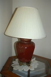 Ceramic table lamp (one of a pair)