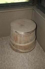 Antique wood bucket with lid