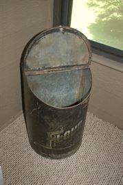 Antique metal flour storage bin