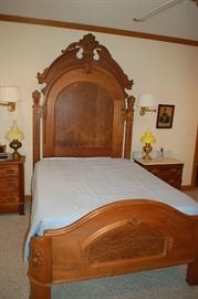 Fabulous tall antique full bed.  This piece is truly remarkable!