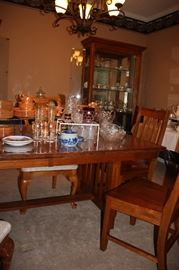 Mission style dining table/ lighted glass display cabinet (One of two)