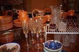 Fire King (vintage), cut glass pitcher and glasses, vintage Flo Blue juicer