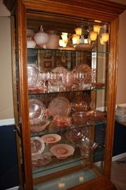 Huge collection of pink depression glass
