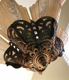 Bottom view of brass chandelier