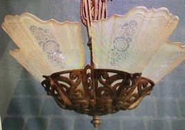 Vintage Art Deco Slip Glass Chandelier