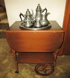 Serving cart, pewter coffee/tea/serving set