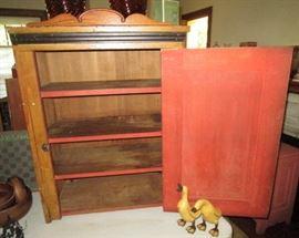 Antique cupboard inside w/ shelves