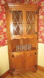 Ethan Allen corner cabinet, vintage glasses