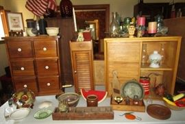 Misc. small cupboards, small antiques & collectibles