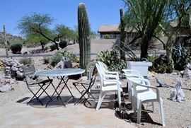 Outdoor chairs, Utility sink and table for sale.