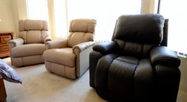 ALL BRAND NEW Lazboy NEVER GOT TO BE USED. There are 2 of these: Lazboy Pinnacle PowerReclineXR® Reclina-Rocker® Recliner and one of the Lazboy Greyson PowerReclineXR® Reclina-Rocker® Recliner