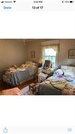 Pair of French provincial beds and matching dresser and vanity