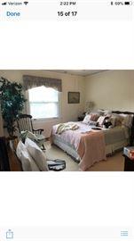 Mahogany queen bed , dresser and nightstands  Custom bedding