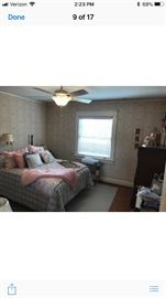 Queen bed , dresser and tall chest  All custom Bedding