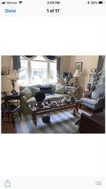 Lovely almost new green linen sofa by Lee And a blue check wing chair  Italian bench and Indian side table painted white