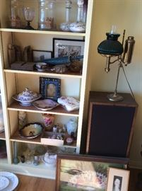 Antique glass- Fenton glass, Royal Dalton, Blue Willow, Denmark, Havilland, Bavarian hand painted bowls,   Asian- Antique Foo dog stone stamps