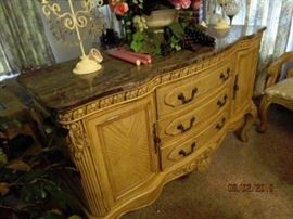 "Side buffet piece matches the table, chairs and lighted buffet.  Immaculate condition. 60 x 22 x 40""."