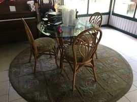 Bamboo style glass top table and chairs