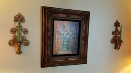 Framed art & sconces