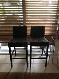 Pair of wicker bar stools