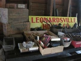 wooden ammo boxes & barn items