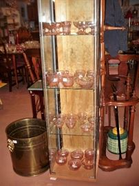 PINK DEPRESSION GLASS AND DISPLAY CABINET